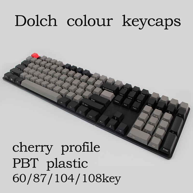 Free shipping Black Gray mixed Dolch Thick PBT 104 87 61 Keycaps Mac Keys  cherry Profile Key caps For MX Mechanical Keyboard
