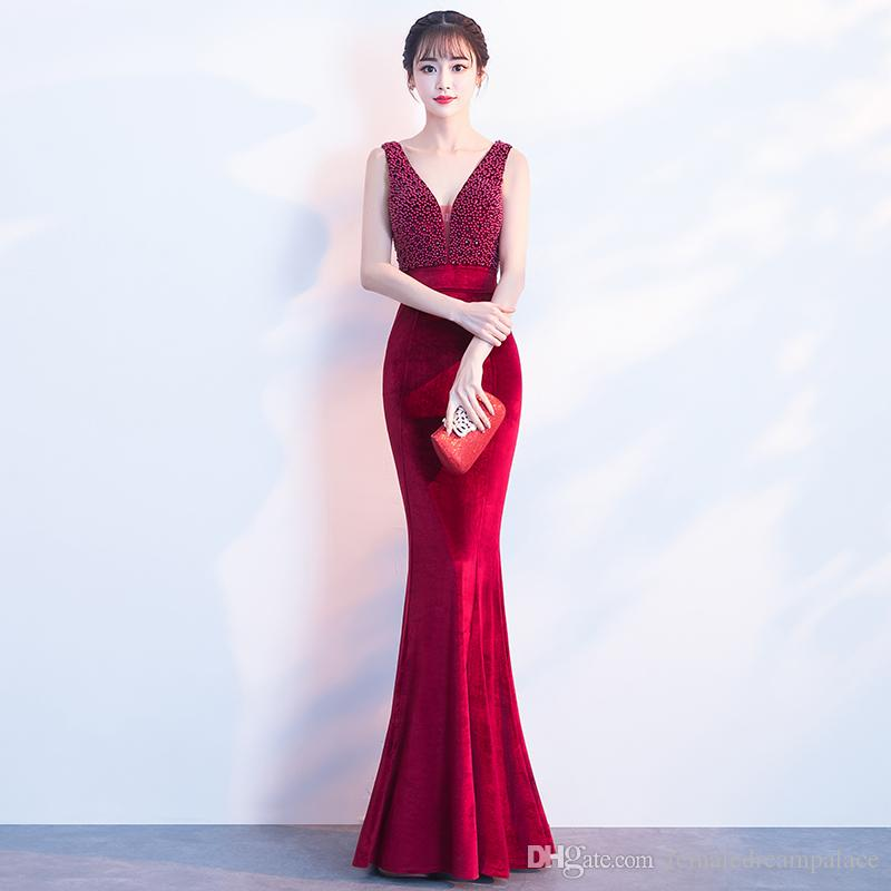 2018 Sexy Red Pearls V Neck Mermaid Prom Dresses Custom Beads Female  Special Occasion Party Dress Backless Velvet Evening Gowns Beads Mermaid  Prom Dresses ... c5ebb7a8aacf