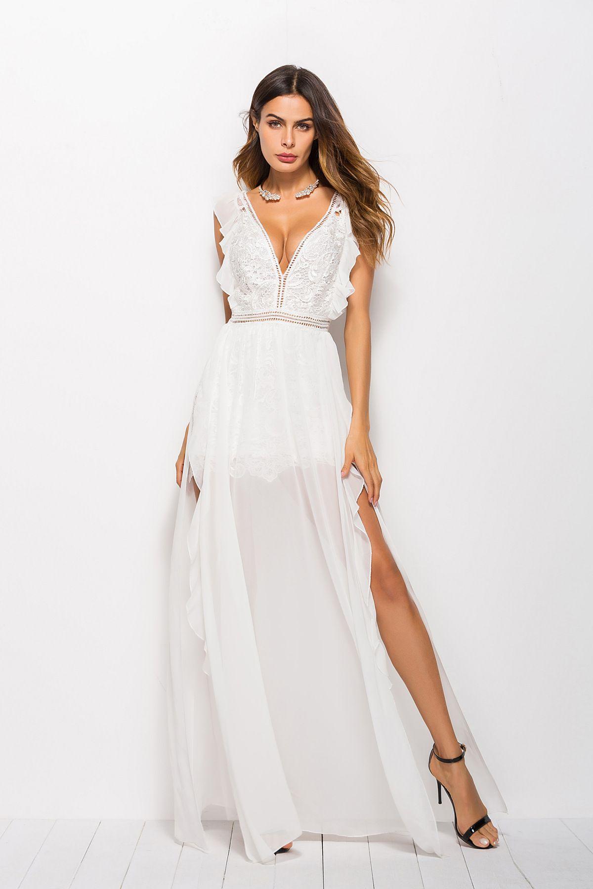 33d22b03e8 2019 Sexy Hollow Out White Lace Dress Women High Split Crochet Chiffon Maxi  Party Dress Ruffle V Neck Elegant Evening Robe Femme From Joycez2820902691,  ...