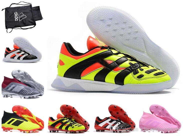 a04d1d3a3ef 2019 Top Quality Mens Soccer Cleats Predator Accelerator Electricity Soccer  Shoes Predator 18+ FG Football Boots Chuteiras De Messi With Box Bag From  ...