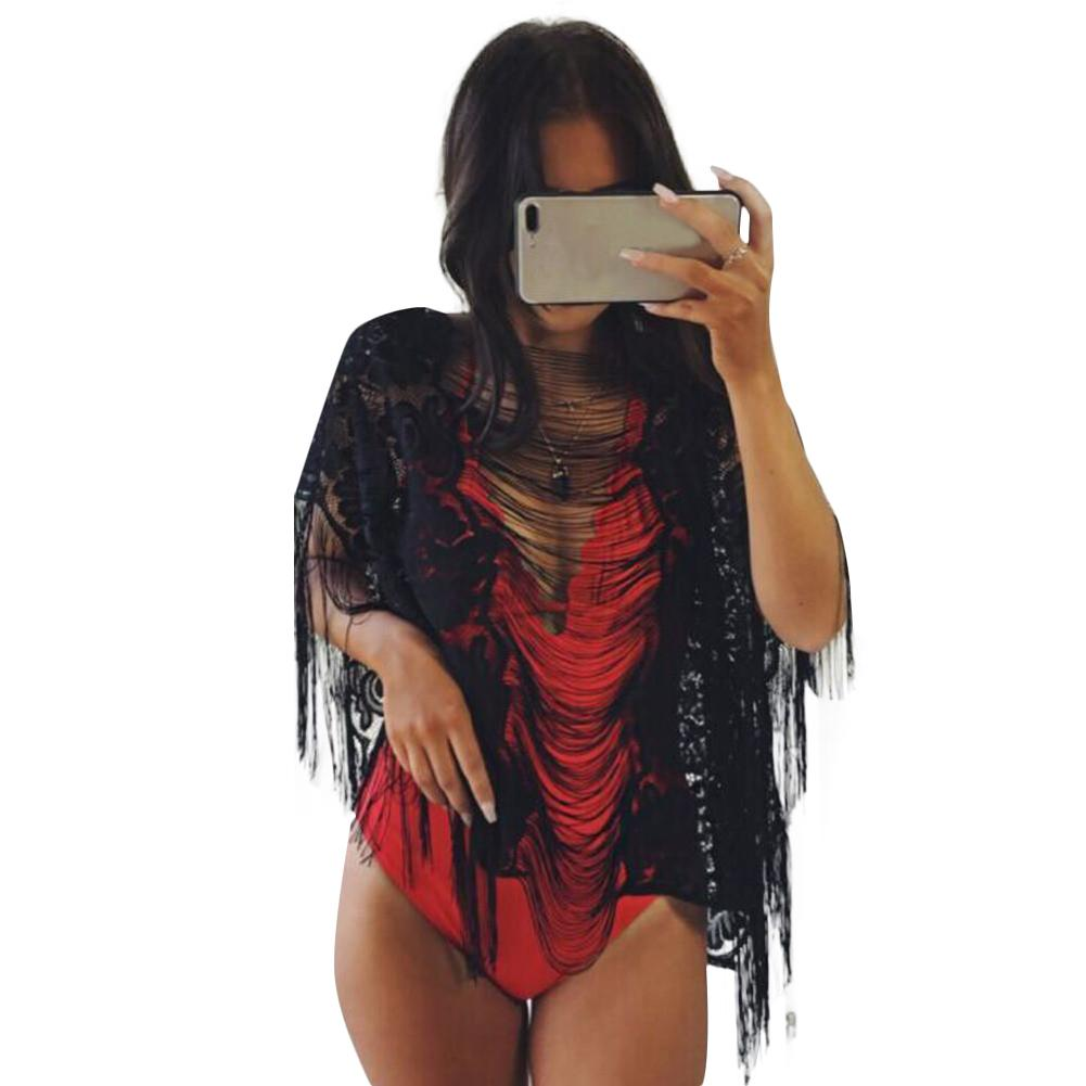 Women Beach Cover Ups Sheer See-through Floral Lace Tassel Fringe Transparent Swimsuit Mini Loose Solid Bikini Holiday Wear Tops