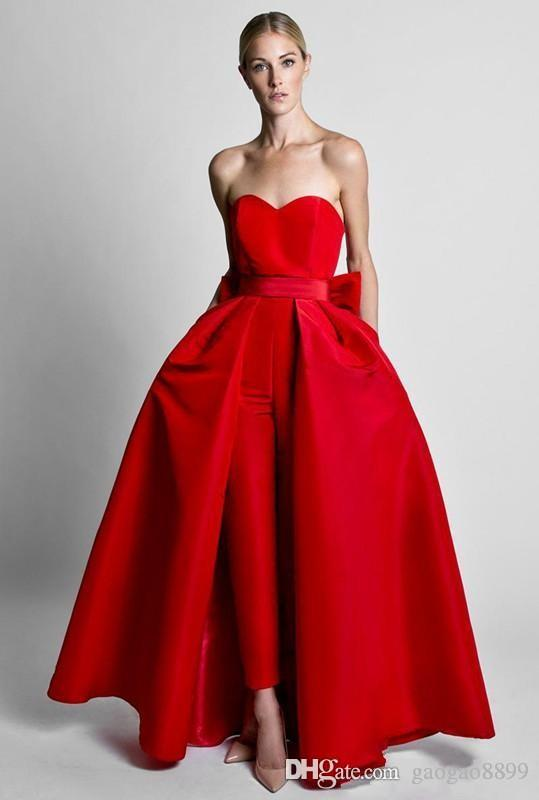 2019 Krikor Jabotian Red Jumpsuits Formal Evening Dresses With Detachable Skirt Sweetheart Prom Dresses Party Wear Pants for Women Hot Sale