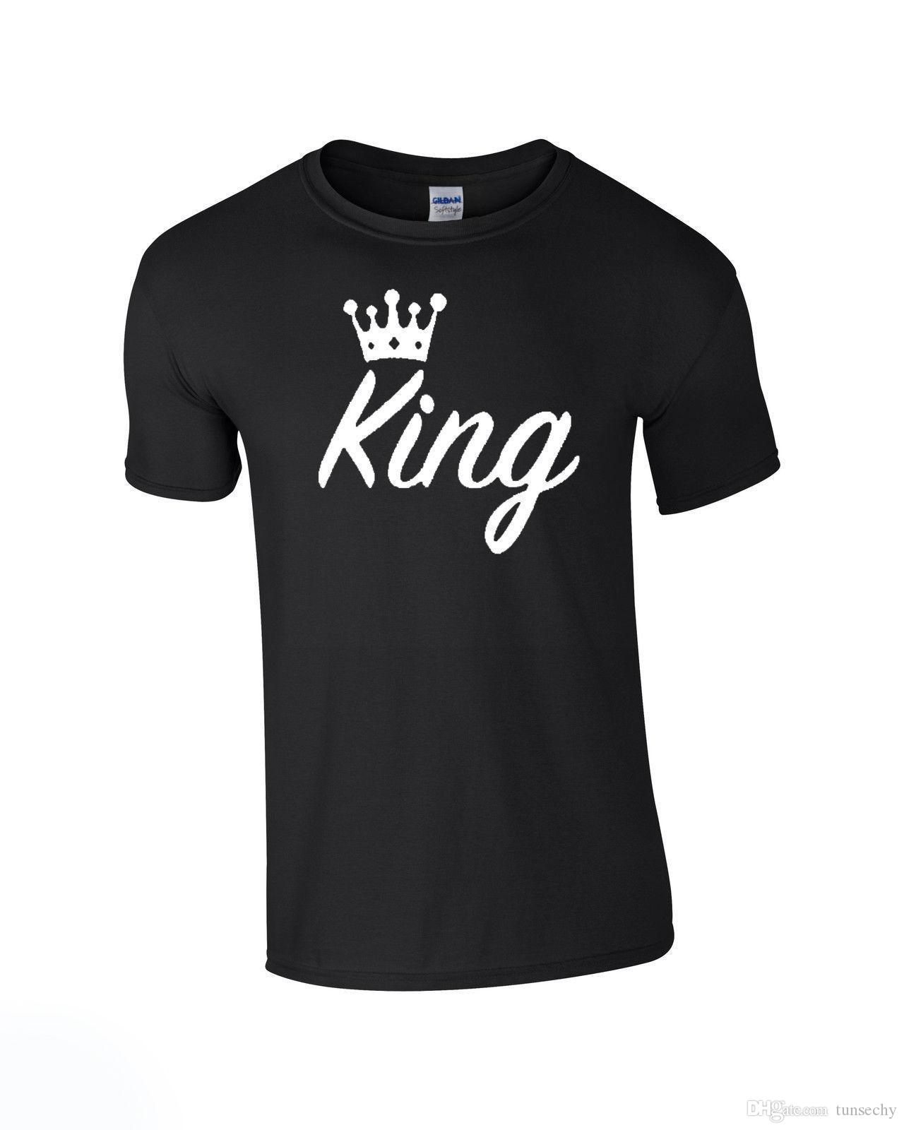 KING QUEEN CROWN T SHIRT TOP LOVE VALENTINES ANNIVERSARY BIRTHDAY COUPLES MATCH Best Tee Shirts Cheap From Tunsechy 1116