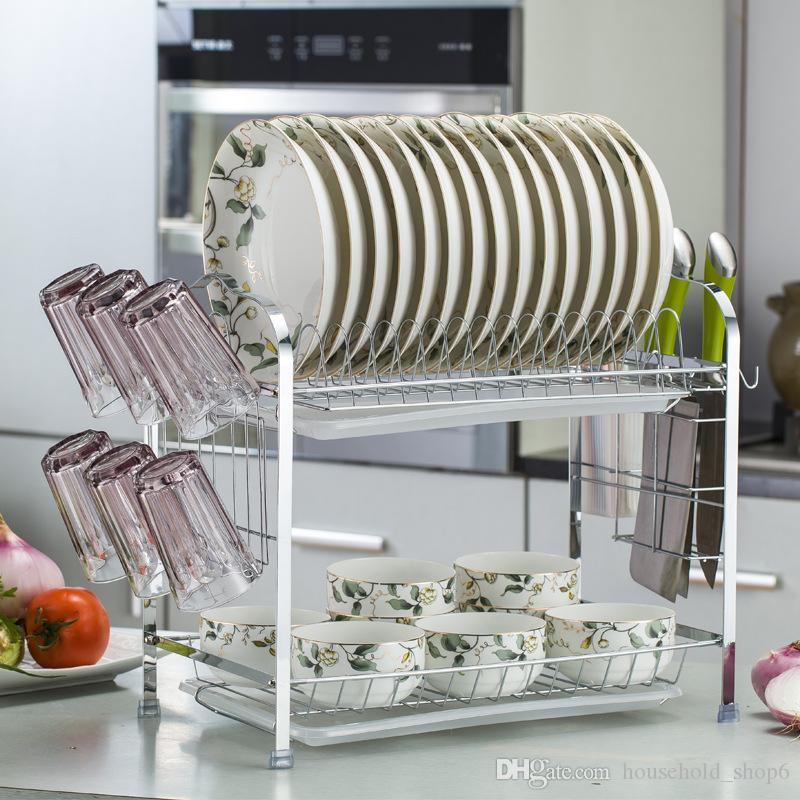 Set 2-Tier Dish Rack Chrome Dish Cutlery Cup Rack With Tray Drain ... fb671c496d