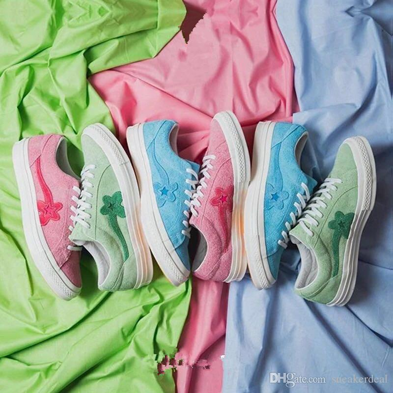 95b4097a13e3 2018 Tyler The Creator X Con One Star X Golf Le Fleur TTC Solar Yellow  Sneaker Trainers Shoes Canvas Shoes Good Running Shoes Skechers Running  Shoes From ...