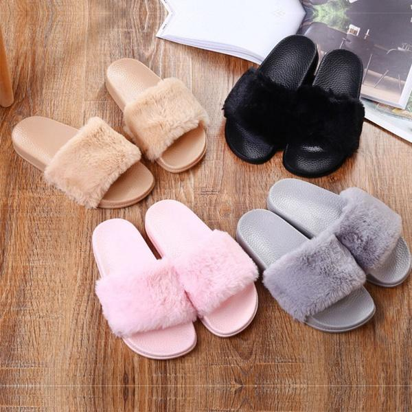 4a8010477298 Womens Lady Plush Slipper Slip On Sliders Fluffy Fur Slippers Flip Flop  Sandals Over The Knee Boots Womens Boots From Yt fashion