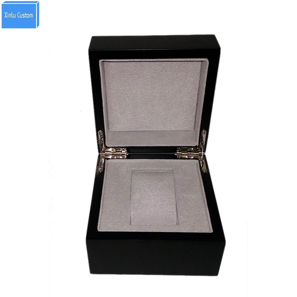 Black Wood Inner Gray Velvet Fashion Gift Watch Box Case Storage Dispaly,  Promotion Custom Boxes With Personal Logo Suppliers