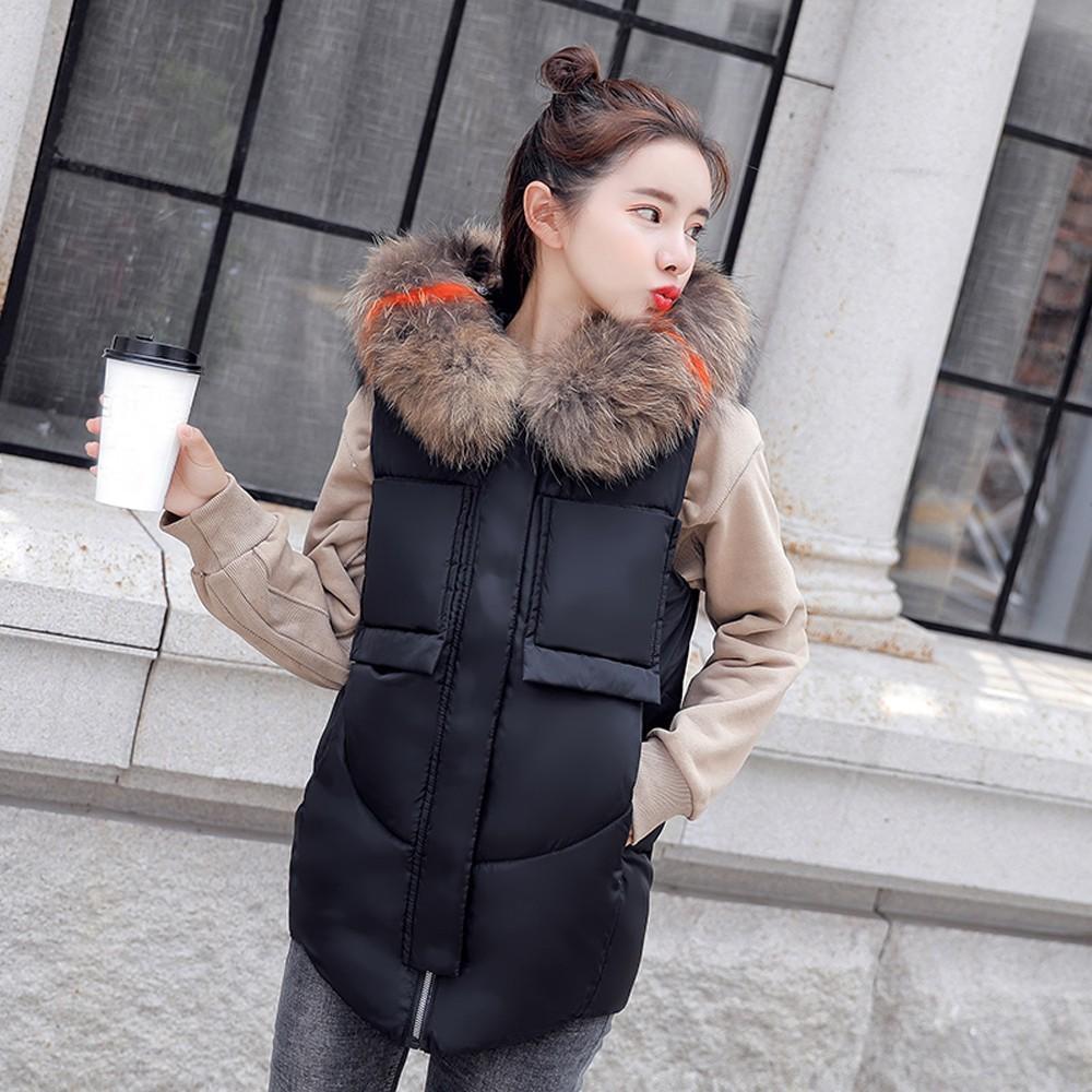 53e9d53c5225 Women Sleeveless Faux Fur Hooded Thick Warm Slim Jacket Overcoat Feminina  Blusas Mujer De Moda Chemise Femme New Arrival Wool Jacket Long Jacket From  ...