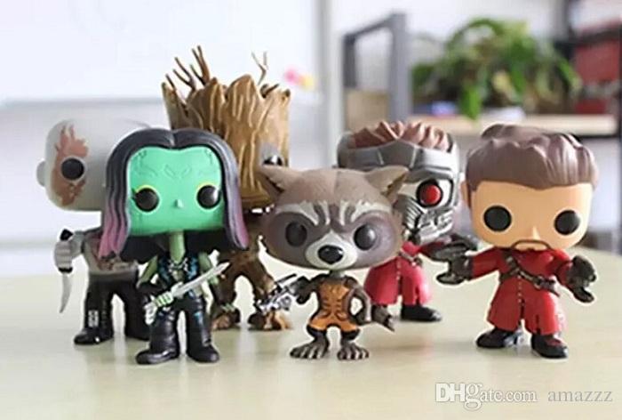 Chanycore Funko pop Bobble Head Groot Star-Lord Rocket Drax Gamora Tree man Guardians of the Galaxy Anime Vinyl PVC model toy