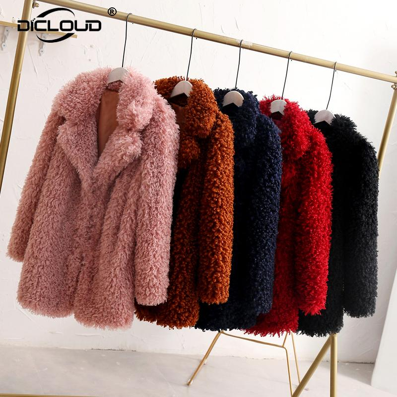 2df999ac9d10d 2019 2018 Winter Thick Faux Fur Coat Women Fluffy Pink Teddy Outfit Jacket  Streetwear Warm Furry Overcoat Shaggy Outerwear Femme D18110103 From Tai01