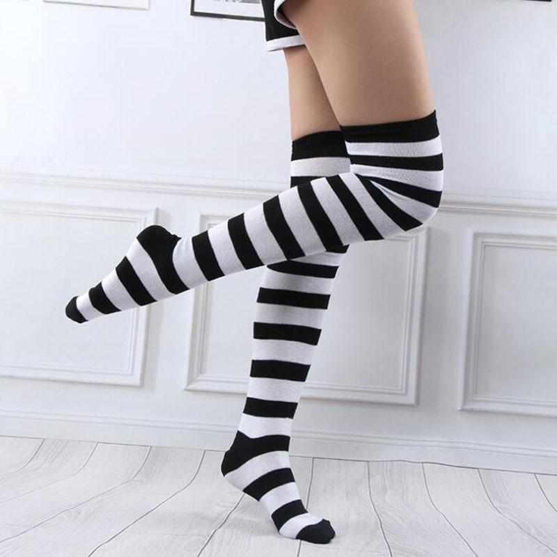 b7a6b2406 2019 Anime Cosplay Striped Stockings For Women Girls Over Knee High Fashion  Lovely Elastic Warm Long Stockings Black Red White Green From Beenlo