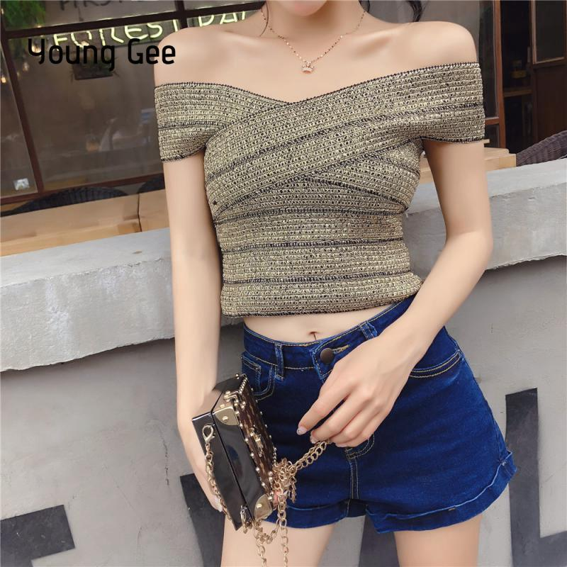 0a114b4b7ff01 Young Gee Sexy Slash Neck Off Shoulder Crop Tops Womens 2018 Summer Tank  Top Fitness Bralette Bustier Croptop Streetwear femme