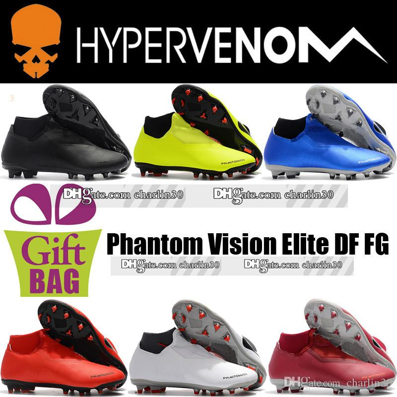 f0bc4412a New Original Hypervenom Leather Soccer Shoes Boots Mens Phantom Vision Elite  DF FG Soccer Cleats Socks Laceless High Ankle Football Boots Desert Boots  ...