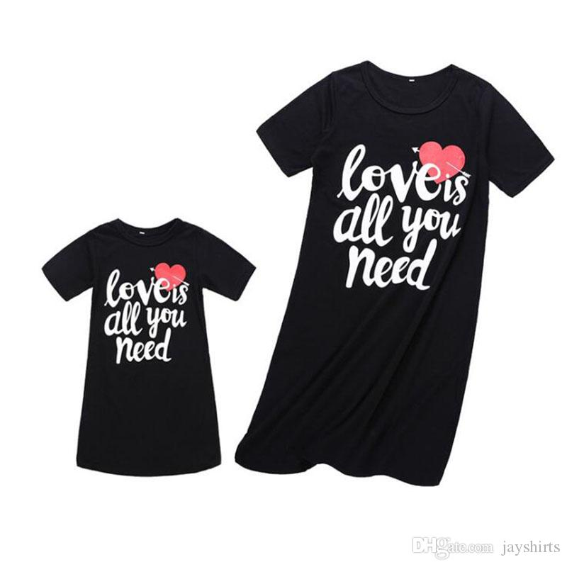 012fd63984 Summer Vest Dress For Mother And Daughter Family Matching Outfits Heart  Printed Dress Short Sleeve Dress For Mom And Me Clothes For Family Pictures  Mother ...