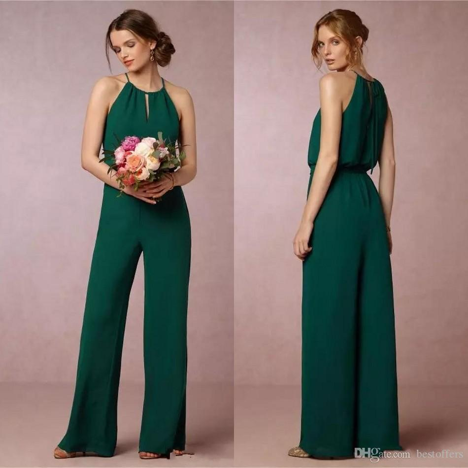 83bbc491fa5 New 2018 Dark Green Flow Chiffon Bridesmaid Dresses Elegant Empire Waist  Pant Suit Maid Of Honor Gowns Wedding Guest Prom Dress BA9775 Plus Size  Dresses ...