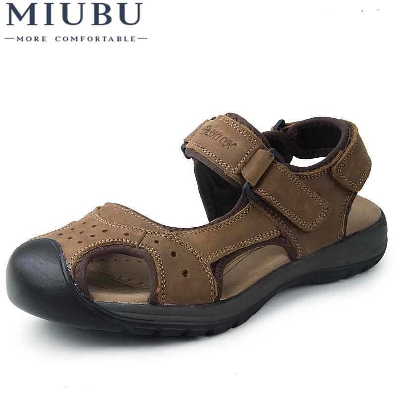 06045a2488f5 MIUBU Brand Genuine Leather Summer Soft Male Sandals Shoes For Men ...