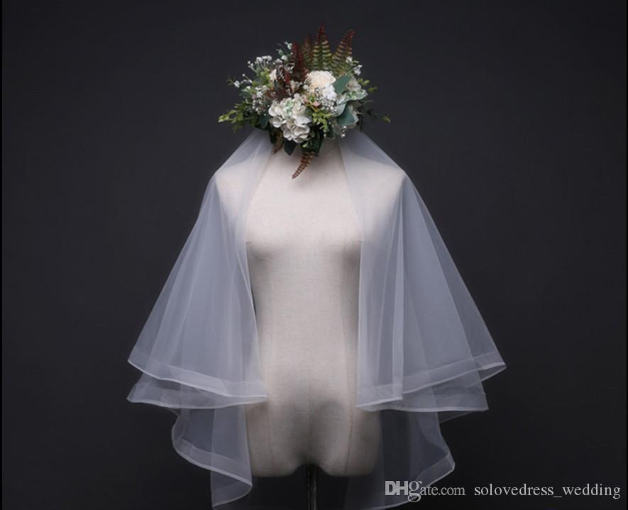 جديد الأبيض / العاج زفاف العروس الحجاب 2018 بسيط طبقتين تول الزفاف الشعر رئيس الحجاب الزفاف مع مشط