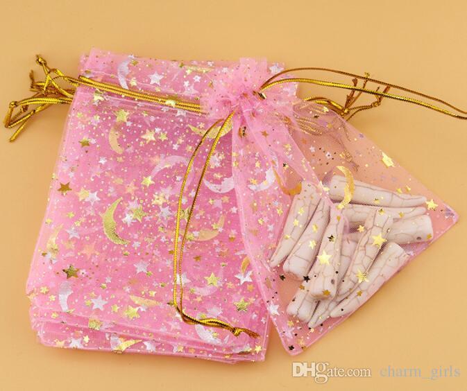 500 sztuk Brązujący przędzy Torby Prezent Biżuteria Torby Stars Moon Kolczyki Bransoletka Torba do przechowywania Kolorowe Torby Gaza 9 * 12 CM
