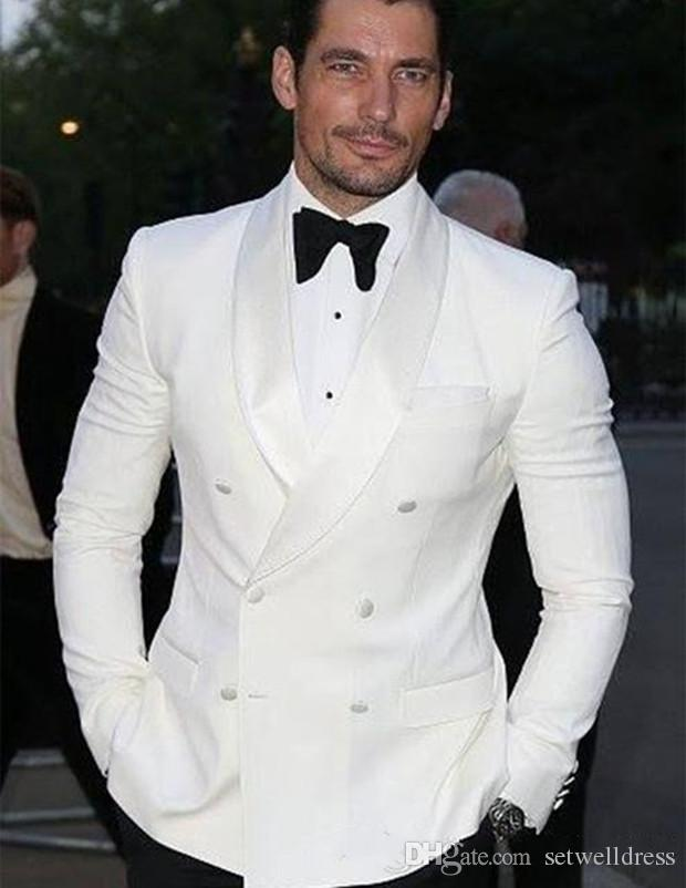 Double Breasted Ivory Groom Tuxedos 2018 Cheap Groomsmen Suits ...