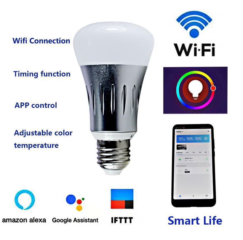 Led Lámpara E27 Bombilla Compre Regulable Wifi Rgb Joneaz 10w Smart R5AL4j