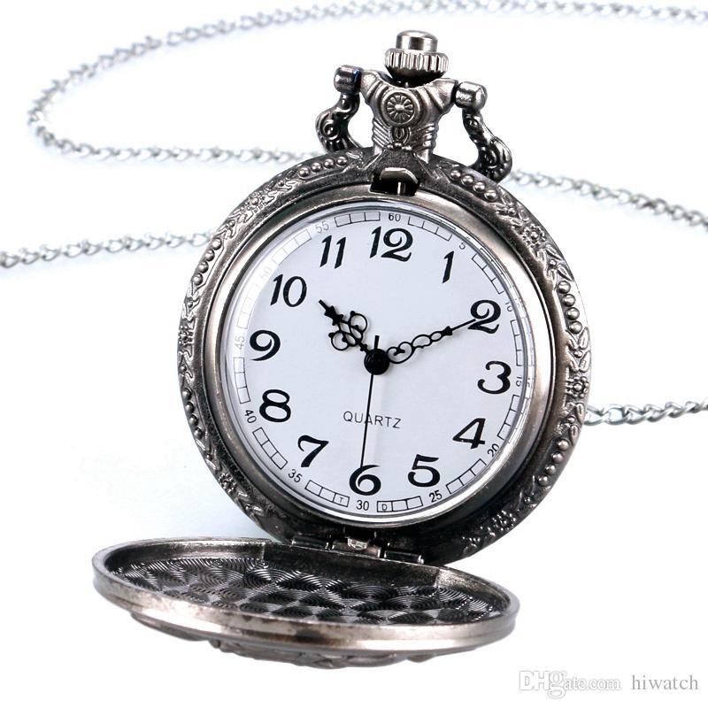 Серебристый Прохладный Рев Лев Шаблон Спелеология Дизайн Карманные Часы Классический Античный Fob Часы Мужчины Ожерелье Цепь