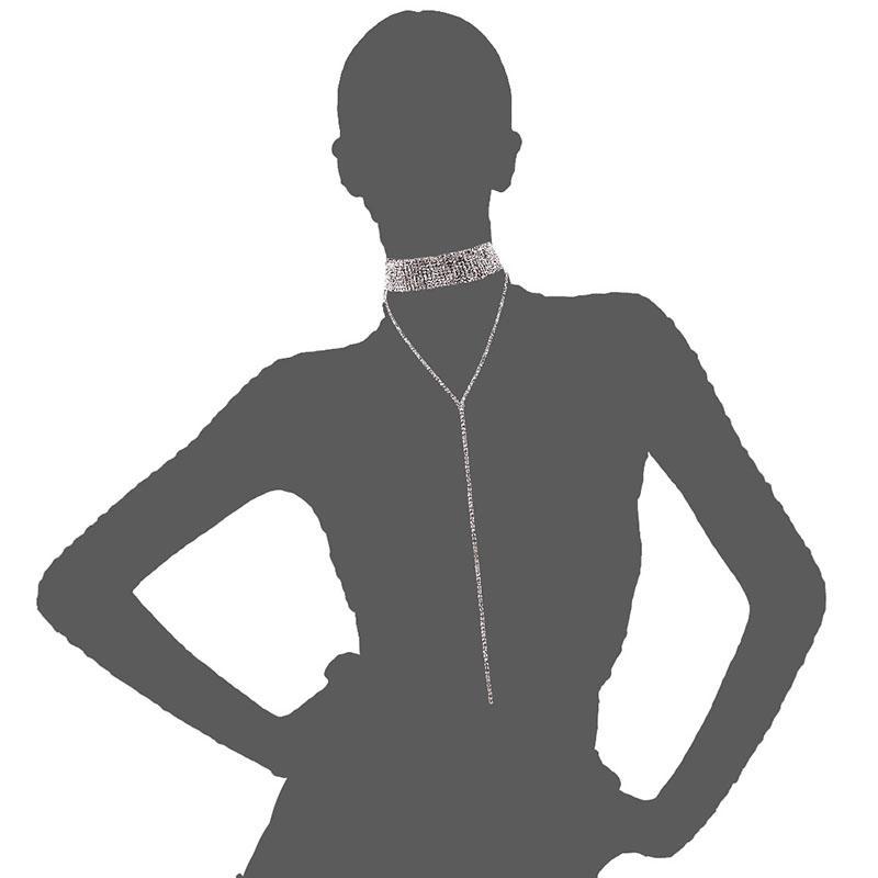 Venta caliente Collar de Joyería de Moda de Lujo Brillante Rhinestone Completo Collar de Múltiples Capas Mujer Diamante Colgante Gargantilla Collar