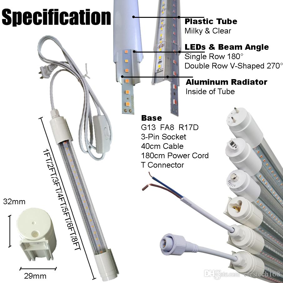 2ft 3ft 4ft 5ft 9W 14W 18W 22W T8 waterproof IP65 Led Tube Light lamp high bright replacement Led Fluorescent Bulbs