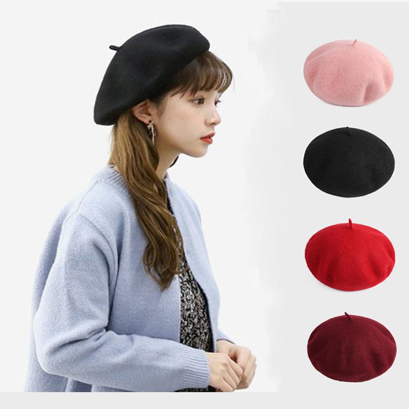 Compre Boina De Lana Para Mujer Sombreros De Invierno Para Mujer Gorra  Plana Tejer 100% Sombreros De Cachemira Sombrero De Niña De Boina Sombrero  De Pintor ... f676f3ed8f7
