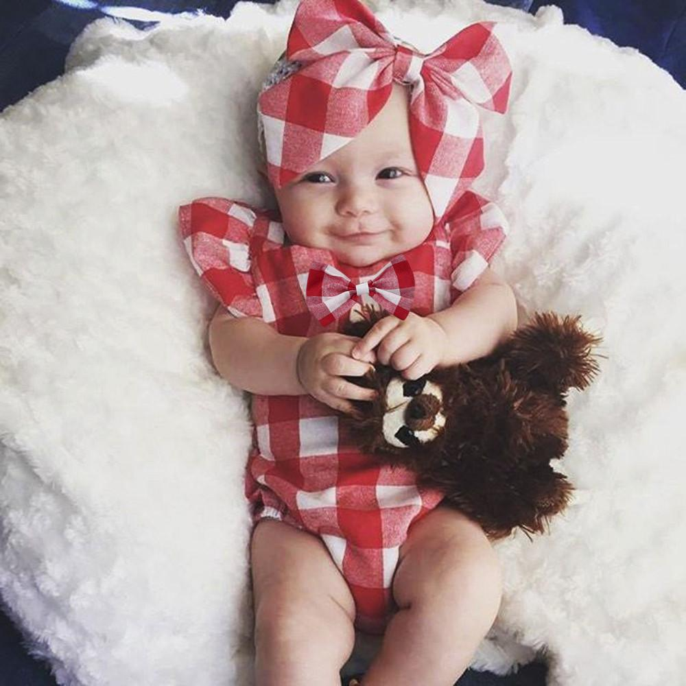 2018 lovely cute baby girls infant plaid jumpsuit sleeveless rompers