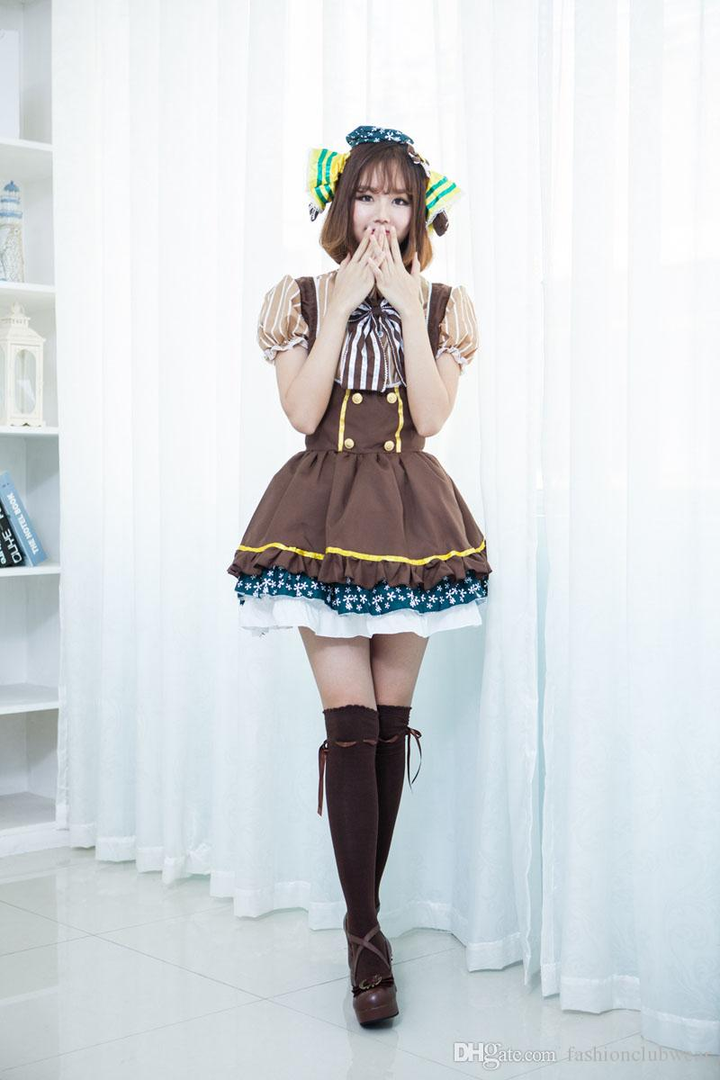 Sweety Lolita Princess Gowns Dress Retro Japan Anime Magical Girl Cosplay Costume Lovely Maid Cosplay Dress Halloween Costume