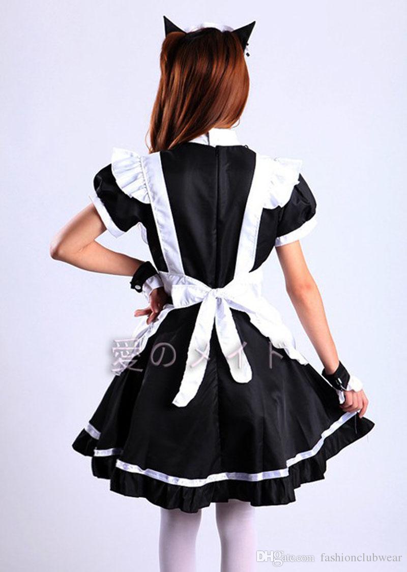 클래식 프랑스어 하녀 코스프레 의상 귀여운 로리타 걸 드레스 테마 파티 역할 놀이 의상 할로윈 코스프레 의상 멋진 드레스