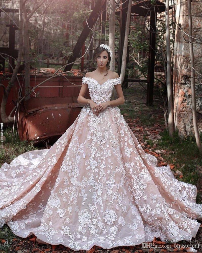 Elie Saab Off Shoulder Blush Church Train Wedding Dresses 3D Floral Handmade Flower Dubai Arabic Bridal Wedding Gowns High Quality