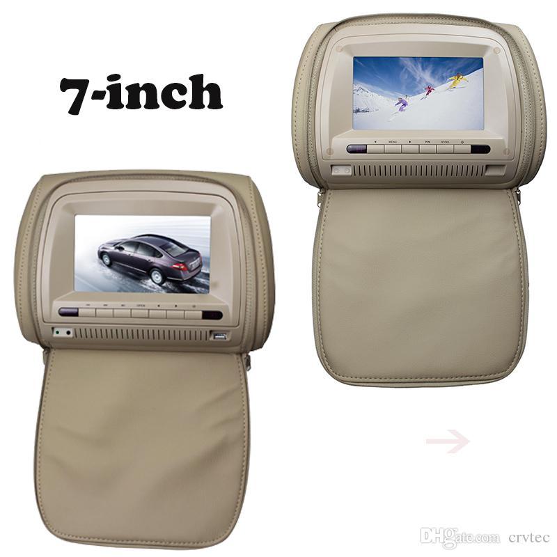 Pair 7 Inch Dual Screen Car Headrest DVD USB SD FM IR Player With Zipper Pillow Host Slave Monitor Portable Dvd For Cheap