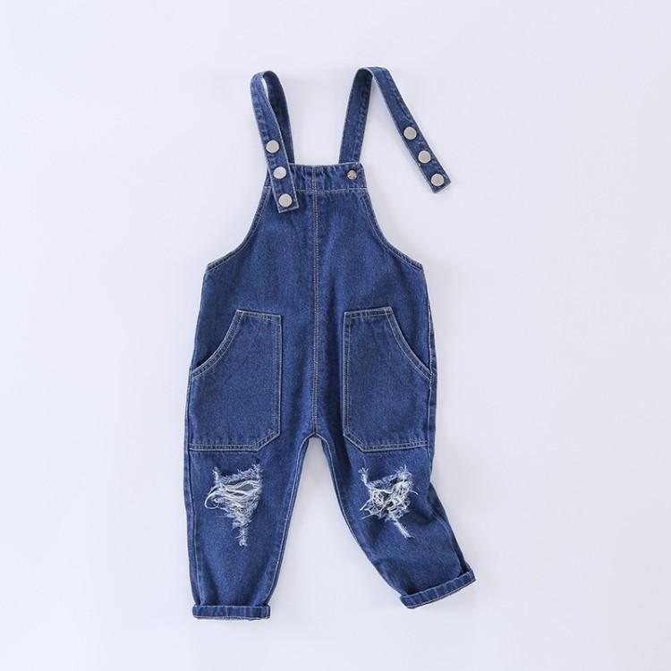 Dziecko estate delle ragazze abbigliamento in denim Tuta 2017 del denim del foro delle tute denim i pantaloni casual bambini Bretelle Pantaloni