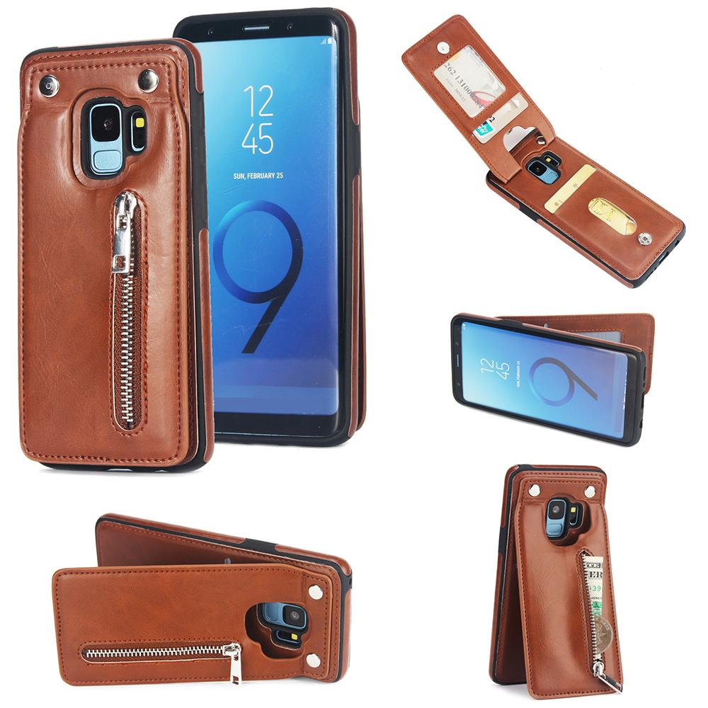 hot sale online eae59 30915 Cell phones samsung galaxy s9 plus Pu Leather Luxury Wallet Cover Card  Holder Flip Stand luxury phone case cover Designer phone case For S8