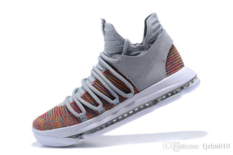 Moins cher 2017 Kevin Durant 10 Casual Chaussures Casual Chaussures Hommes Haute Qualité KD 10 Baskets D'entraînement KD10 Chaussures de Sport Taille 7-12