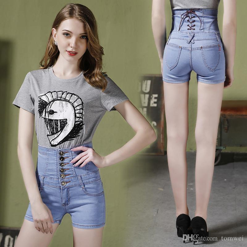 17a44bd50b 2019 High Waist Shorts Womens Skinny Jeans Shorts Sexy Lace Up Big Size S  4XL 5XL Light Blue 2018 Brand Summer Clothing From Tomwei, $16.09 |  DHgate.Com