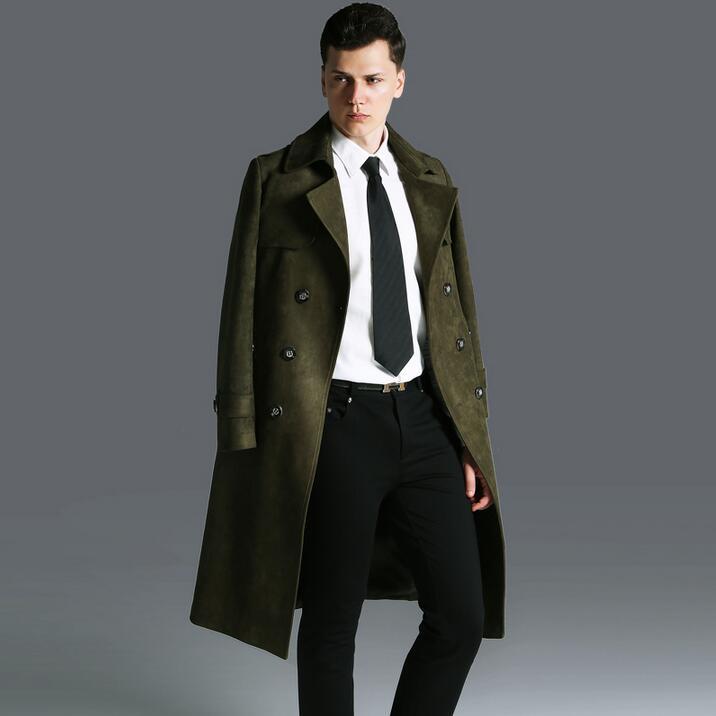 63fd9957e1196 Compre Deerskin Terciopelo Largo Gabardina Para Hombre Hombre 2017 Abrigos  Muy Largos Para Hombre Prendas De Vestir Exteriores Más Tamaño Moda  Ejército ...