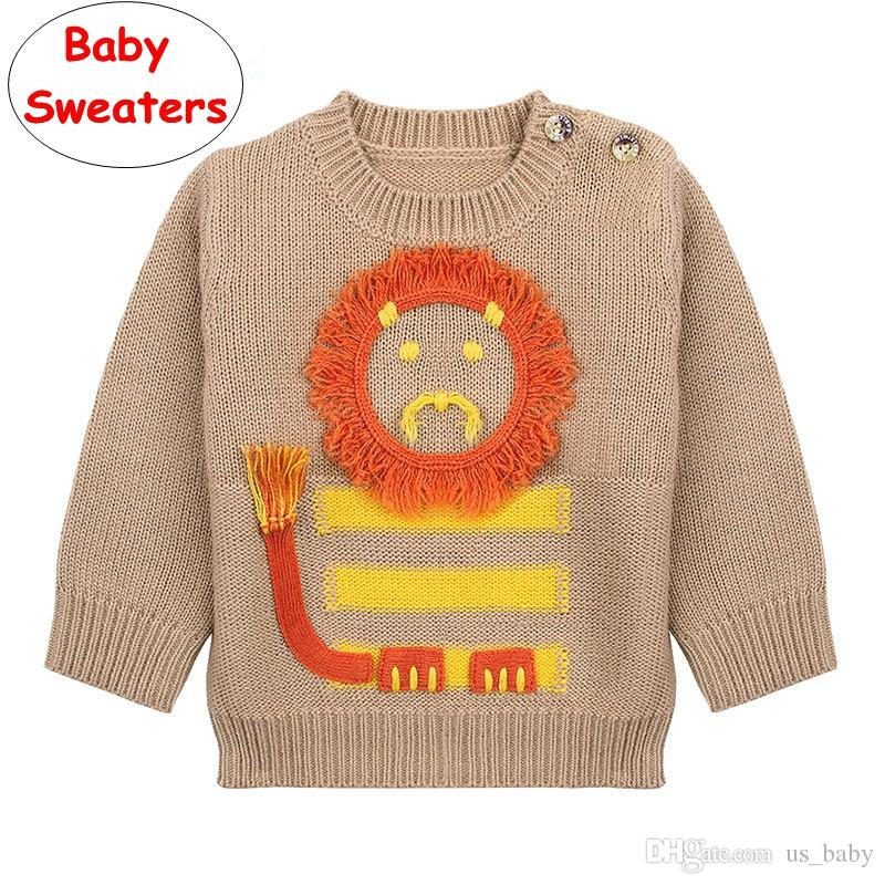 13b19f15e Infant Cartoon Lion Sweaters INS Baby Boys Girls Knitted Pullover Tops Kids  Gray Brown Autumn Winter Shirt Knitting Patterns For Baby Sweaters Knitting  ...