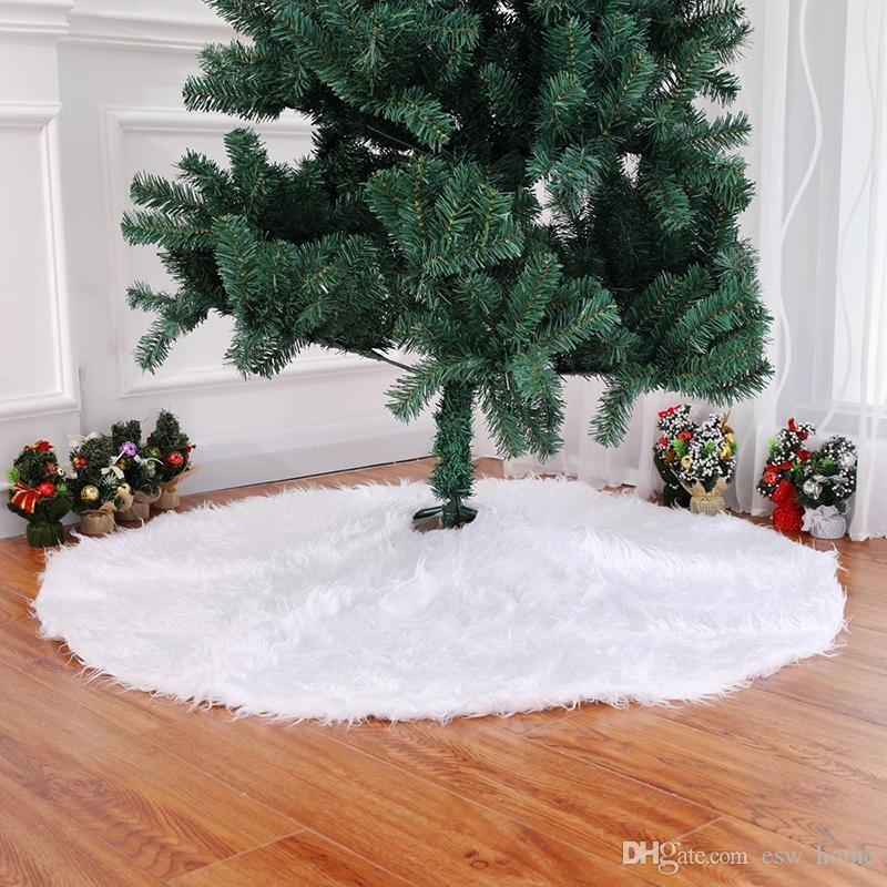 christmas tree decorations long snow plush christmas tree skirt base floor mat cover xmas ornament santa claus deer christmas decorations accessories