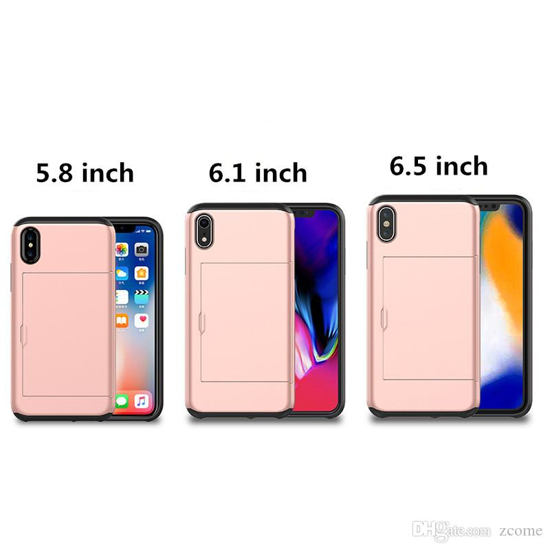 newest 14a65 4c9aa 2 in 1 Hybrid slide Card Slot wallet case hard Shockproof Back cover slim  Armor for iPhone xr xs xs max XsMax
