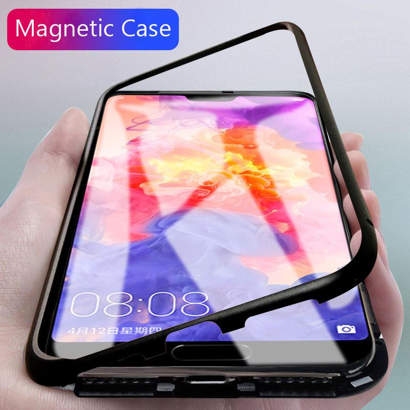 miglior servizio dc59a 2e11c For Huawei P20 Pro Lite Honor 10 Mate 10 Pro Magnetic Adsorption Built-in  Magnet Tempered Glass Cover For HUAWEI Full Cover Case
