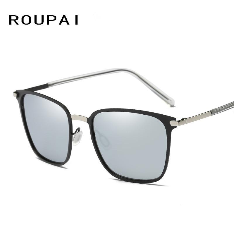 ae1a51499c ROUPAI Fahion Square Polarized Sunglasses Men Women Retro Vintage ...