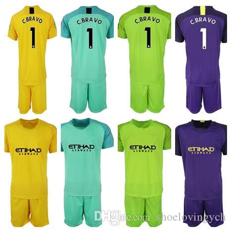 size 40 60609 50c85 18/19 Soccer jerseys goalkeeper kit GK Shirt Man #1 C.BRAVO Goalie uniforms  Man City football KUN AGUERO soccer kit
