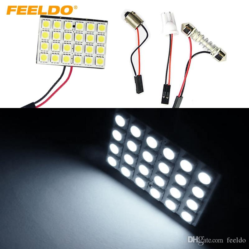 FEELDO 20Set White Car 24SMD 5050 3-Chips LED Panel Dome Light with T10/BA9S/Festoon Adapters Dome Bulbs #1519