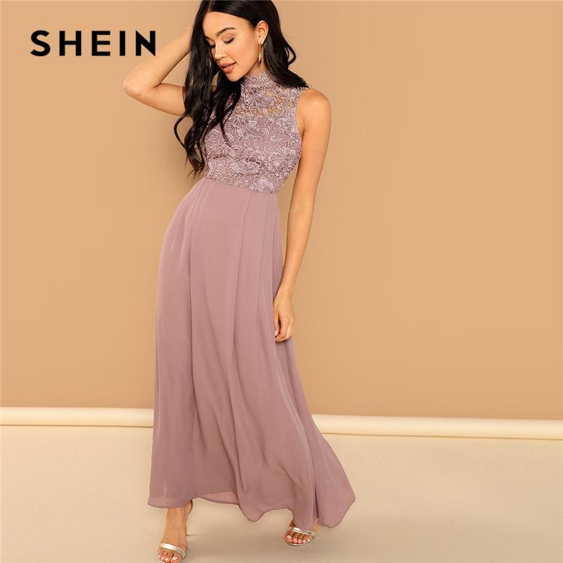 907031384c SHEIN Pink Guipure Lace Overlay Bodice Maxi Dress Elegant Plain Stand  Collar Sleeveless Party Dresses Women Autumn A Line Dress Dress Styles For  Women ...