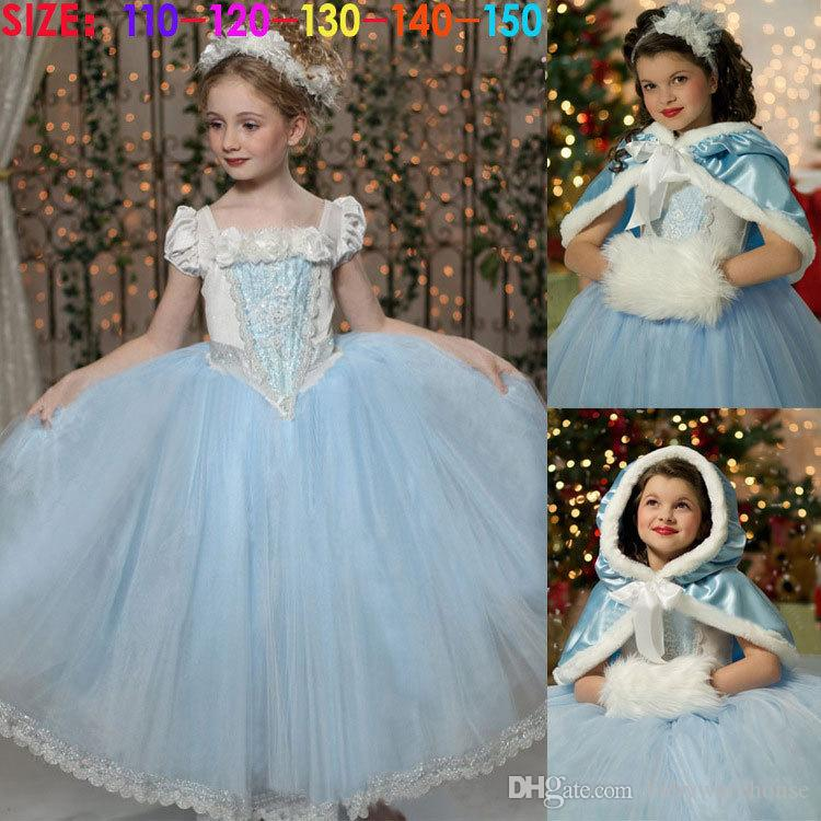 Retail Girls Cinderella Dresses Princess Dress + Shawl Cape Fairy Toddler Girls Clothes Wedding Party Dress Flower Costume Girls Clothing