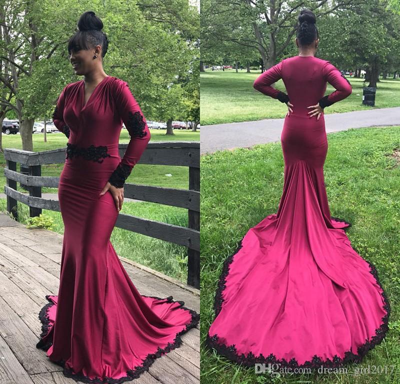 Großhandel Sexy V Ausschnitt Abschlussball Kleidet 2018 Burgunder ...