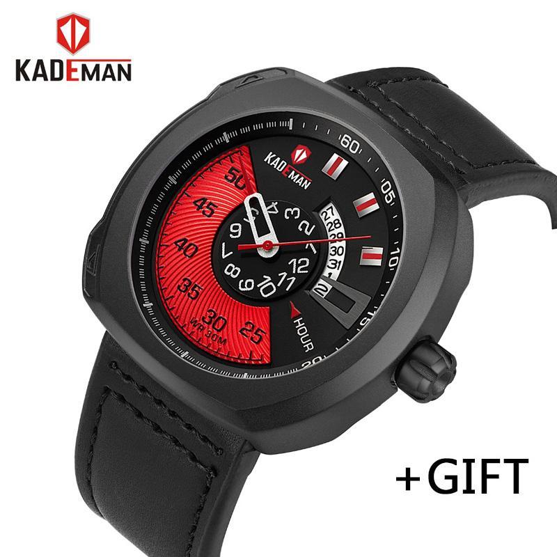 daada191f1c KADEMAN Men Luxury Sport Watch Quartz Analog Clock Man Leather Waterproof  Watch Full Steel Date Relogio Masculino Best Deals On Watches Best Deal On  Watches ...
