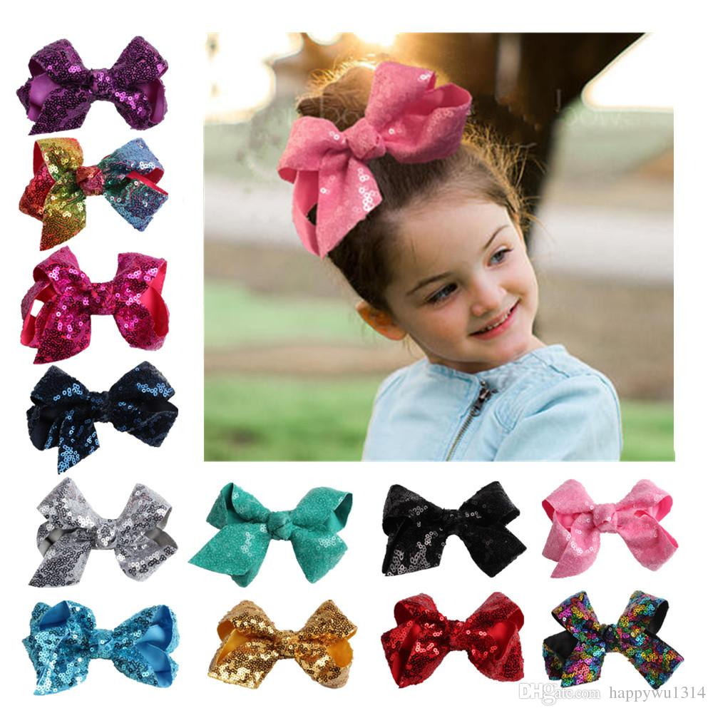 13 color 4 Inch Girls Hair Accessories Baby Infants Sequins Hairbows Hairpins Bow with clip Kids Boutique Colorful Bowknot Hair Clips